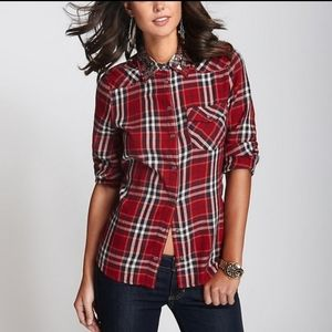 Guess plaid button down embellished neck small